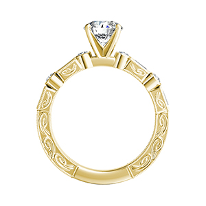 KEIRA Vintage Diamond Wedding Ring Set In 14K Yellow Gold With 0.50ct. Round Diamond