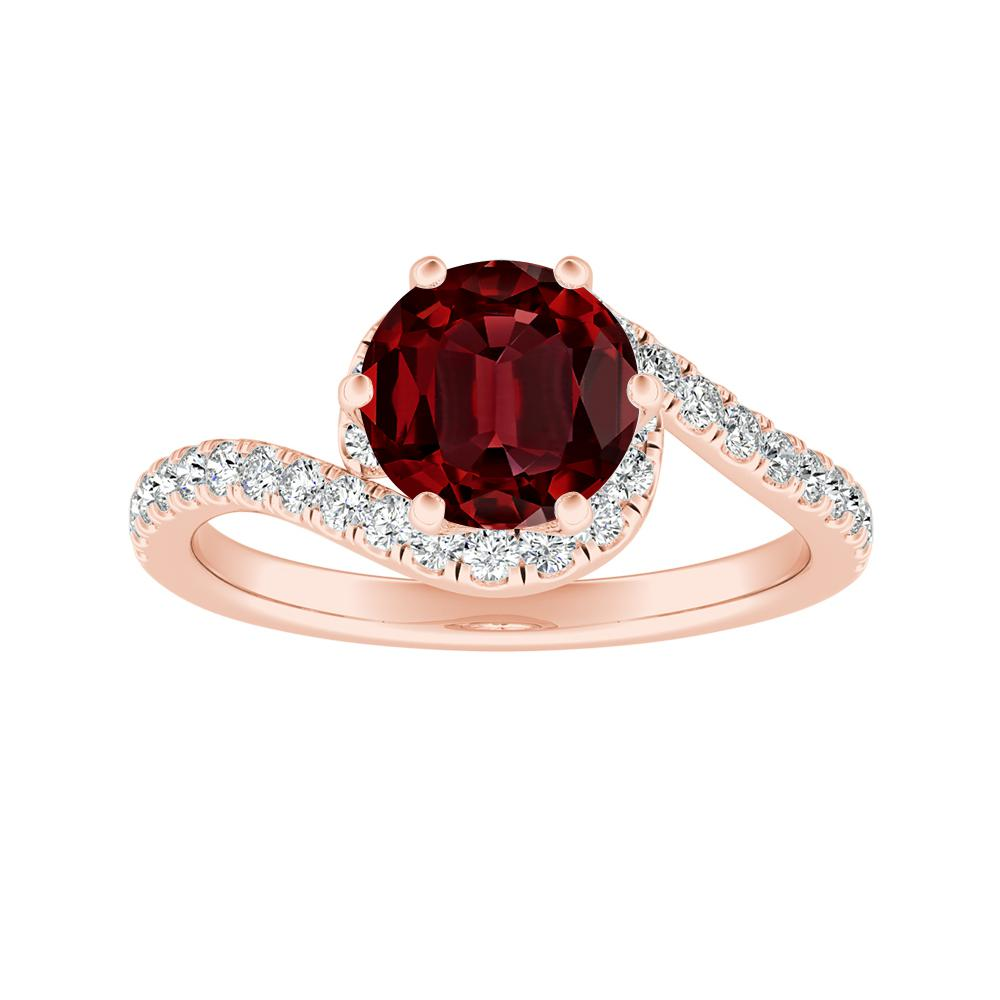 CORAL Modern Ruby Engagement Ring In 14K Rose Gold With 0.50 Carat Round Stone