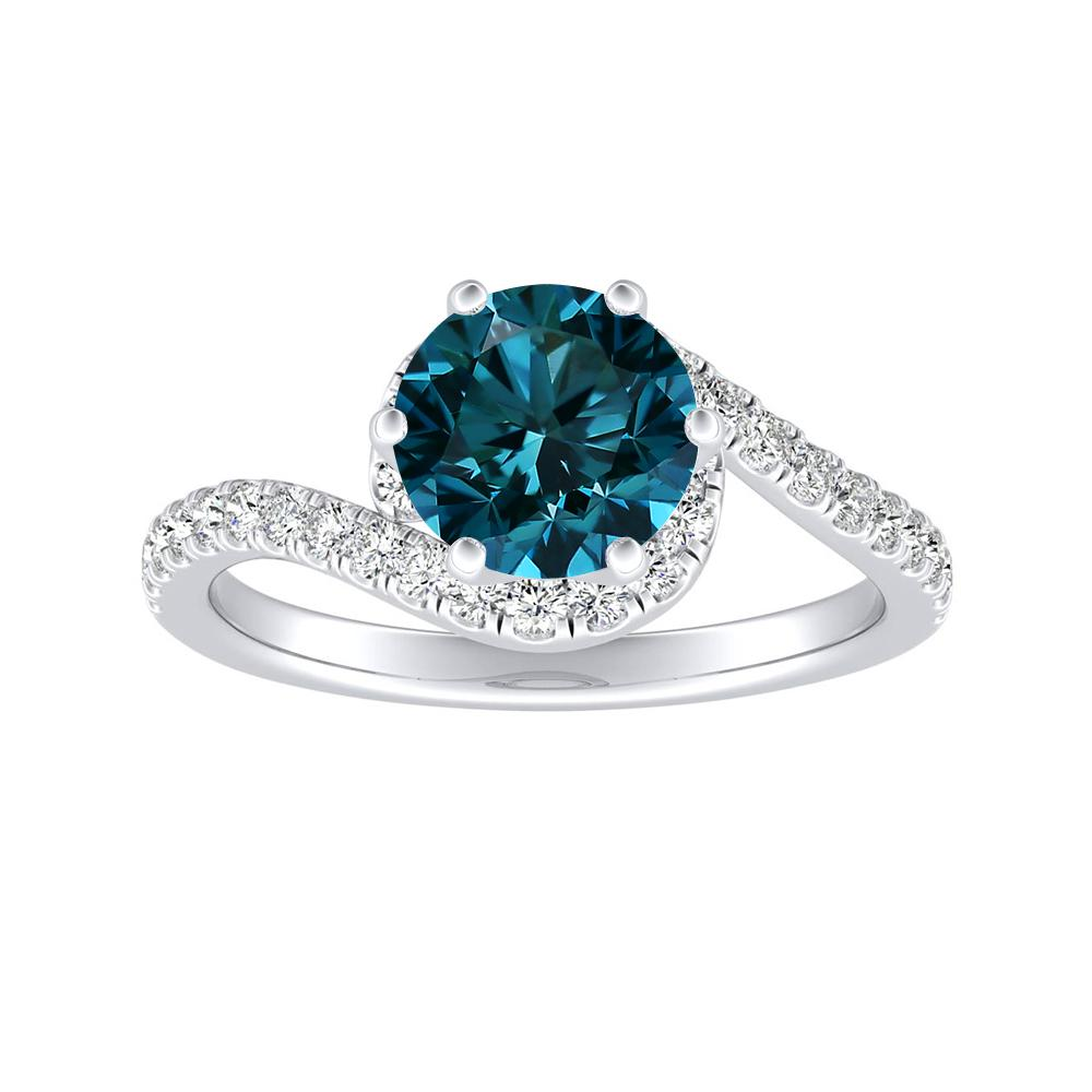 CORAL Modern Blue Diamond Engagement Ring In 14K White Gold With 0.50 Carat Round Diamond