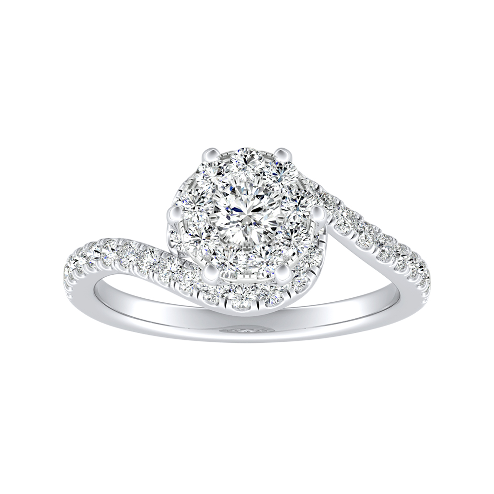 CORAL Modern Diamond Engagement Ring In 14K White Gold With Round Diamond In H-I SI1-SI2 Quality