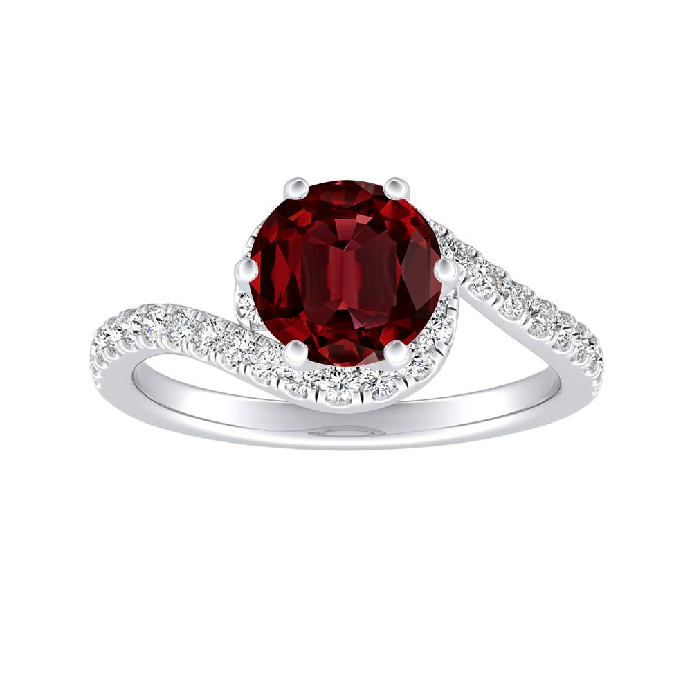 CORAL Modern Ruby Engagement Ring In 14K White Gold With 0.30 Carat Round Stone