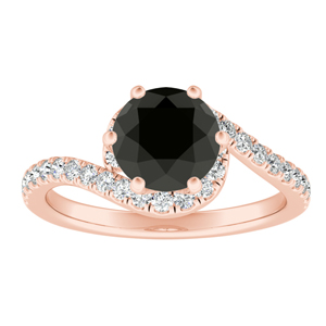 CORAL  Modern  Black  Diamond  Engagement  Ring  In  14K  Rose  Gold  With  1.00  Carat  Round  Diamond