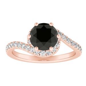 CORAL  Modern  Black  Diamond  Engagement  Ring  In  14K  Rose  Gold  With  1.00  Carat  Round  Diamond