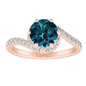CORAL  Modern  Blue  Diamond  Engagement  Ring  In  14K  Rose  Gold  With  0.50  Carat  Round  Diamond