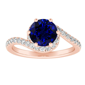 CORAL  Modern  Blue  Sapphire  Engagement  Ring  In  14K  Rose  Gold  With  0.50  Carat  Round  Stone