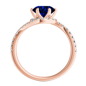CORAL  Modern  Blue  Sapphire  Wedding  Ring  Set  In  14K  Rose  Gold  With  0.50  Carat  Round  Stone