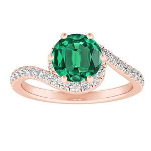 CORAL  Modern  Green  Emerald  Engagement  Ring  In  14K  Rose  Gold  With  0.50  Carat  Round  Stone