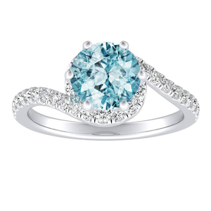 CORAL Modern Aquamarine Engagement Ring In 14K White Gold With 1.00 Carat Round Stone