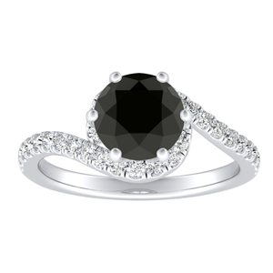 CORAL Modern Black Diamond Engagement Ring In 14K White Gold With 1.00 Carat Round Diamond