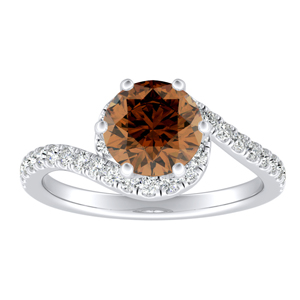 CORAL  Modern  Brown  Diamond  Engagement  Ring  In  14K  White  Gold  With  0.50  Carat  Round  Diamond