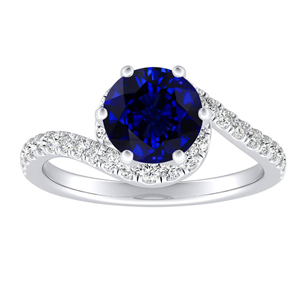 CORAL  Modern  Blue  Sapphire  Engagement  Ring  In  14K  White  Gold  With  0.50  Carat  Round  Stone