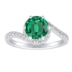 CORAL Modern Green Emerald Engagement Ring In 14K White Gold With 0.50 Carat Round Stone