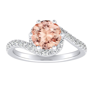 CORAL Modern Morganite Engagement Ring In 14K White Gold With 1.00 Carat Round Stone