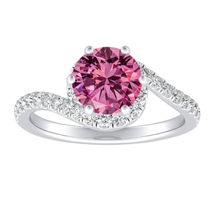 CORAL  Modern  Pink  Sapphire  Engagement  Ring  In  14K  White  Gold  With  0.50  Carat  Round  Stone