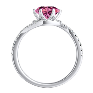 CORAL  Modern  Pink  Sapphire  Wedding  Ring  Set  In  14K  White  Gold  With  0.50  Carat  Round  Stone