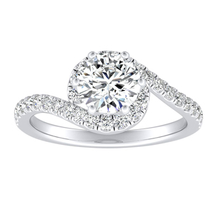 CORAL Modern Moissanite Engagement Ring In 14K White Gold With 0.50 Carat Round Stone