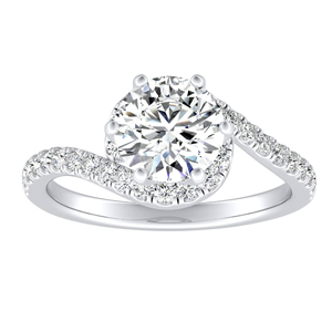 CORAL Modern Diamond Engagement Ring In 14K White Gold