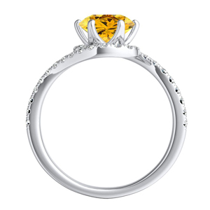 CORAL  Modern  Yellow  Diamond  Engagement  Ring  In  14K  White  Gold  With  0.50  Carat  Round  Diamond