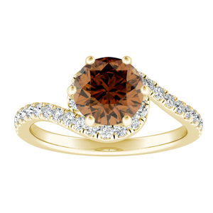 CORAL  Modern  Brown  Diamond  Engagement  Ring  In  14K  Yellow  Gold  With  0.50  Carat  Round  Diamond