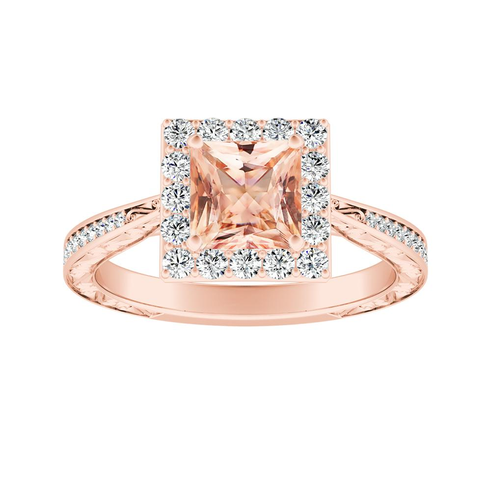 NORA Halo Morganite Engagement Ring In 14K Rose Gold With 4.00 Carat Princess Stone