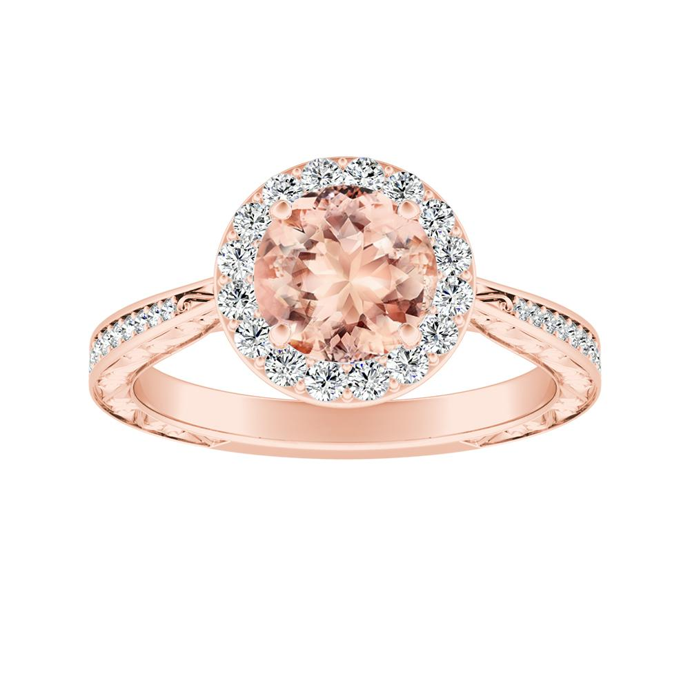 NORA Halo Morganite Engagement Ring In 14K Rose Gold With 4.00 Carat Round Stone