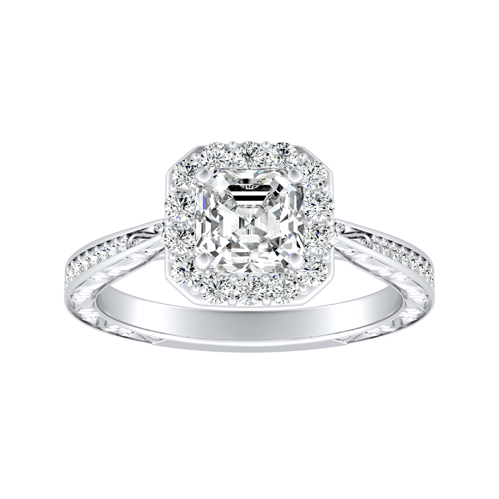 NORA Halo Diamond Engagement Ring In 14K White Gold