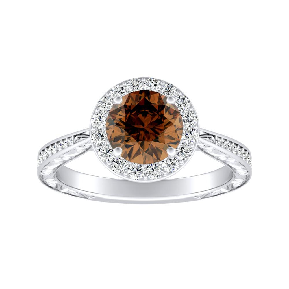 NORA Halo Brown Diamond Engagement Ring In 14K White Gold With 0.30 Carat Round Diamond