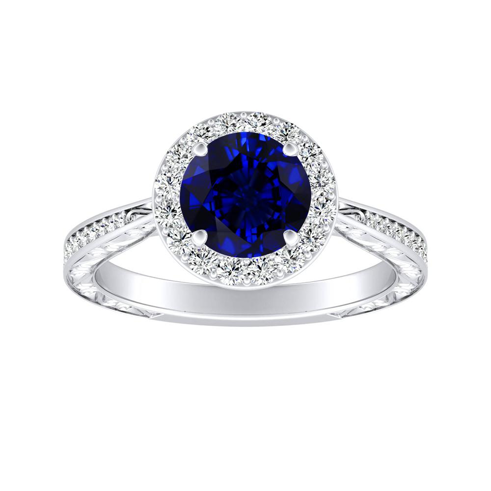NORA Halo Blue Sapphire Engagement Ring In 14K White Gold With 0.30 Carat Round Stone