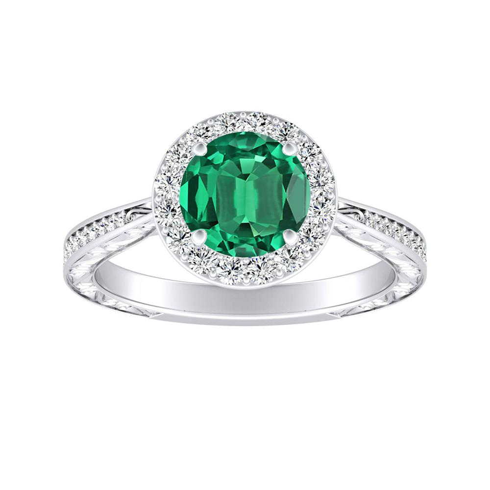 NORA Halo Green Emerald Engagement Ring In 14K White Gold With 0.30 Carat Round Stone