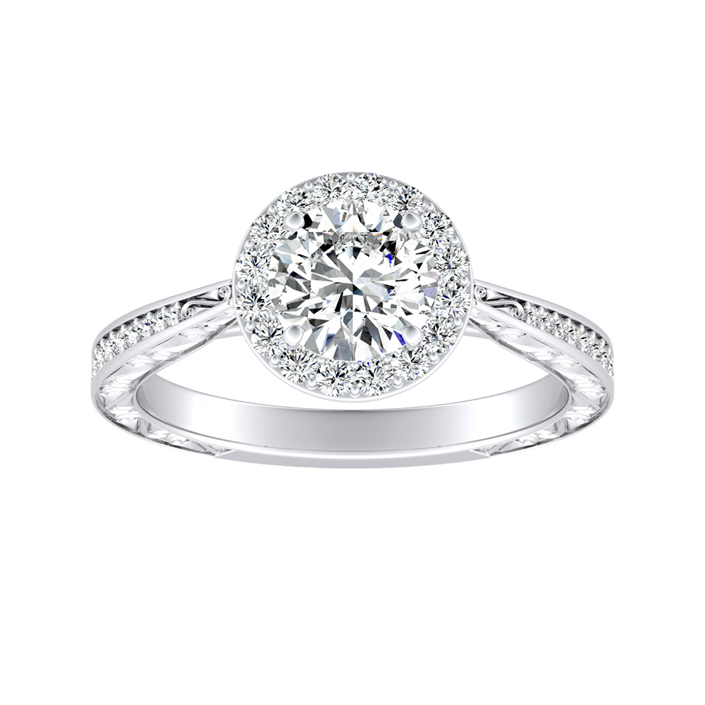 NORA Halo Moissanite Engagement Ring In 14K White Gold With 0.50 Carat Round Stone