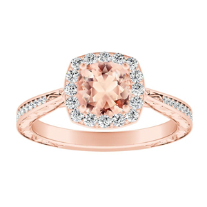 NORA Halo Morganite Engagement Ring In 14K Rose Gold With 4.00 Carat Cushion Stone