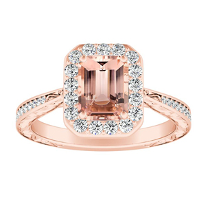 NORA Halo Morganite Engagement Ring In 14K Rose Gold With 4.00 Carat Emerald Stone