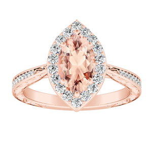 NORA Halo Morganite Engagement Ring In 14K Rose Gold With 4.00 Carat Marquise Stone