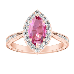 NORA  Halo  Pink  Sapphire  Engagement  Ring  In  14K  Rose  Gold  With  0.50  Carat  Marquise  Stone