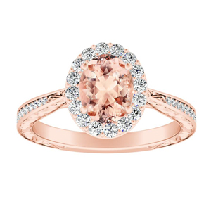 NORA Halo Morganite Engagement Ring In 14K Rose Gold With 4.00 Carat Oval Stone