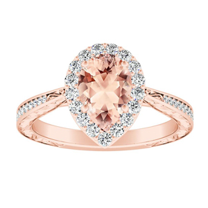 NORA Halo Morganite Engagement Ring In 14K Rose Gold With 1.00 Carat Pear Stone