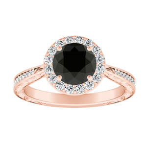 NORA Halo Black Diamond Engagement Ring In 14K Rose Gold With 1.00 Carat Round Diamond