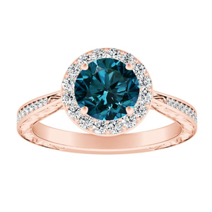 NORA Halo Blue Diamond Engagement Ring In 14K Rose Gold With 0.50 Carat Round Diamond