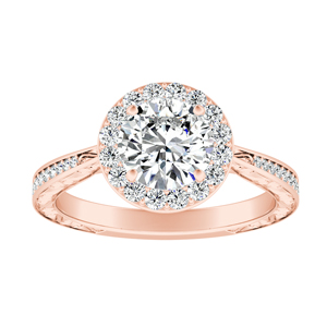 NORA Halo Diamond Engagement Ring In 14K Rose Gold