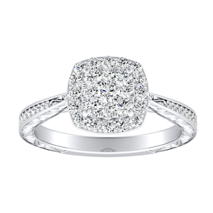 NORA Halo Diamond Engagement Ring In 14K White Gold With Cushion Diamond In H-I SI1-SI2 Quality