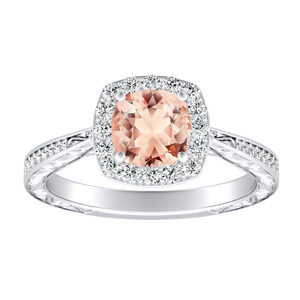 NORA Halo Morganite Engagement Ring In 14K White Gold With 4.00 Carat Cushion Stone