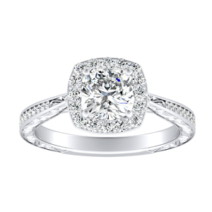 NORA Halo Diamond Engagement Ring In 14K White Gold