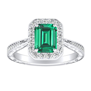 NORA  Halo  Green  Emerald  Engagement  Ring  In  14K  White  Gold  With  0.50  Carat  Emerald  Stone