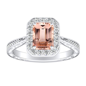 NORA Halo Morganite Engagement Ring In 14K White Gold With 4.00 Carat Emerald Stone