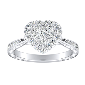 NORA Halo Diamond Engagement Ring In 14K White Gold With Heart Diamond In H-I SI1-SI2 Quality