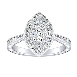 NORA Halo Diamond Engagement Ring In 14K White Gold With Marquise Diamond In H-I SI1-SI2 Quality