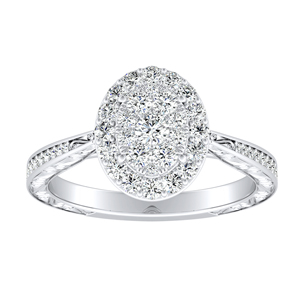 NORA Halo Diamond Engagement Ring In 14K White Gold With Oval Diamond In H-I SI1-SI2 Quality