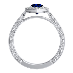 NORA  Halo  Blue  Sapphire  Engagement  Ring  In  14K  White  Gold  With  0.50  Carat  Pear  Stone