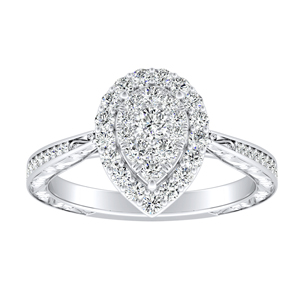NORA Halo Diamond Engagement Ring In 14K White Gold With Pear Diamond In H-I SI1-SI2 Quality