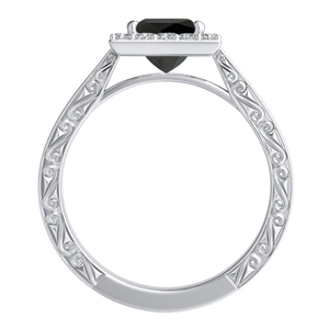 NORA  Halo  Black  Diamond  Engagement  Ring  In  14K  White  Gold  With  1.00  Carat  Princess  Diamond